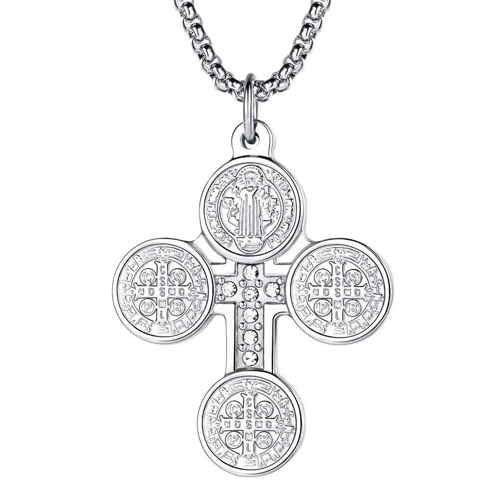 c19fcaeabdc5 FaithHeart Cruz Medalla Milagrosa de San Benito de Nursia Collar Colgante  de Acero Inoxidable Joyería Religiosa