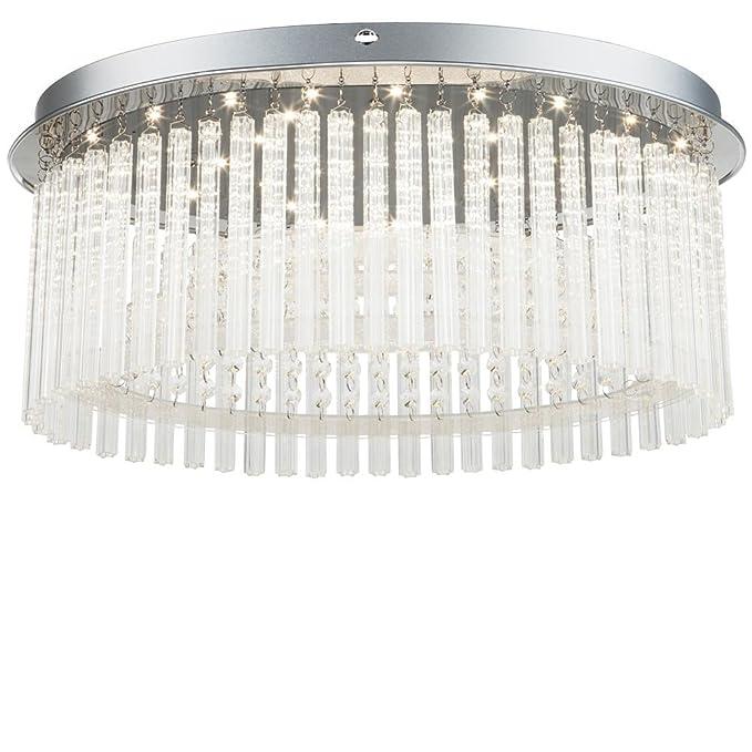 Design LED Decken Lampe Kristall Glas Chrom Leuchte Wohn Schlaf Ess Zimmer Büro
