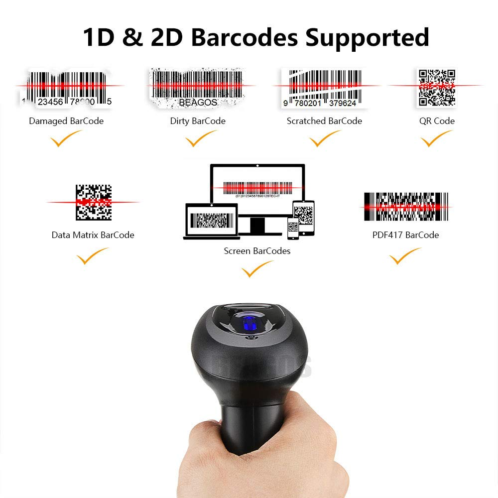 2.4G Wireless /& USB 2.0 Wired QR Code CMOS Image Barcode Reader Works with Windows//Mac//Android 2-in-1 BEAGOS Wireless 1D 2D Barcode Scanner