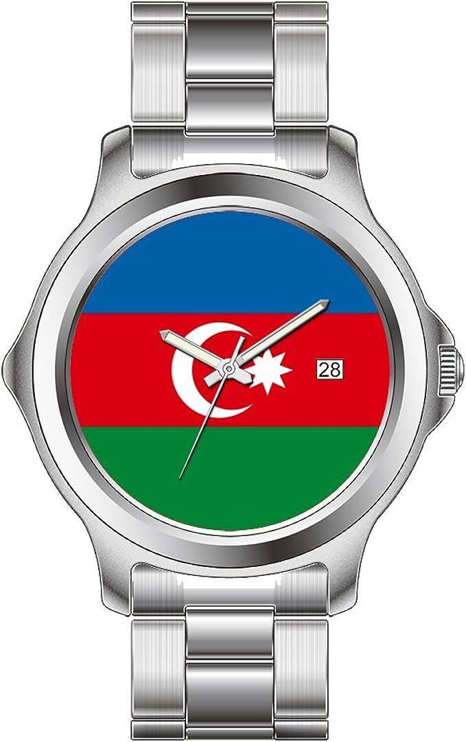 Amazon Com Fdc Christmas Watches Women S Fashion Japanese Quartz Date Stainless Steel Bracelet Watch Azerbaijan Flag Wrist Watch Watches