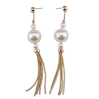 Woman Earrings Fashion Big Grain Pearl Tassel Female Trend
