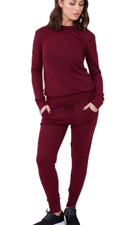 Womens Ladies Plain Two Piece 2 Pocket Set Tracksuit Playsuit Jogging Suit 8-26