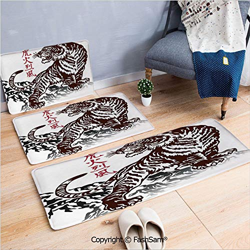 3 Piece Flannel Bath Carpet Non Slip Wild Chinese Tiger with Stripes and Roaring while its Paws on Rock Asian Pattern Decorative Front Door Mats Rugs for Home(W15.7xL23.6 by W19.6xL31.5 by W35.4xL62.9