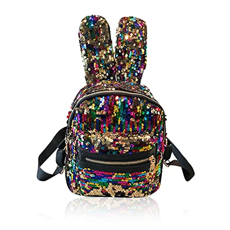 91b535a32723 Amazon.com | Sequin Mini Girls Trendy Leather Backpacks Purse Small ...