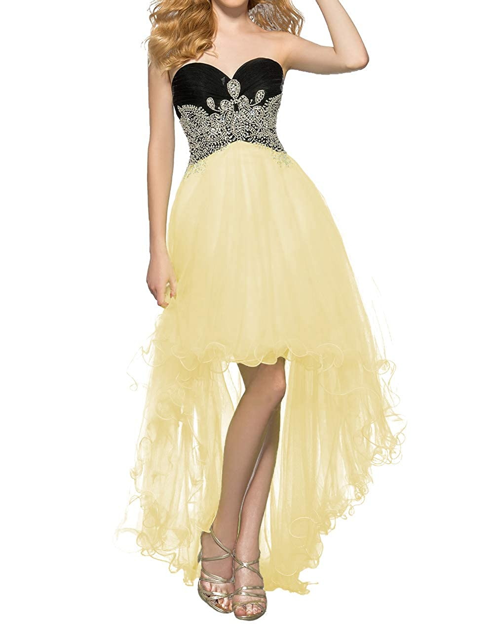 Yellow Uther Women's Tulle HiLow Beaded Prom Dresses Strapless Evening Homecoming Cocktail Gowns