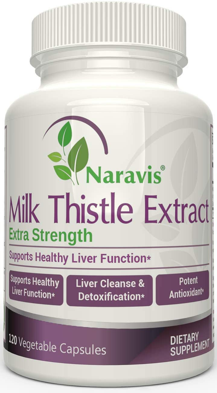 Naravis Milk Thistle Extract – 2000mg – 120 Veggie Capsules – Extra Strength 4X Concentrated Extract – 4 1 Silymarin Extract for Liver Support, Cleanse, Detox Health – Non-GMO