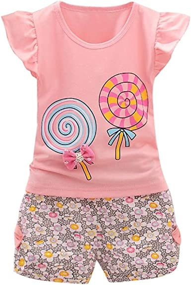 Toddler Kids Baby Girls T-shirt Tops+Short Pants Summer Outfits Clothes 2PCS Set