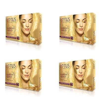 Lotus Herbal Radiant Gold Cellular Glow Facial Kit, 37g x 4 = 148g