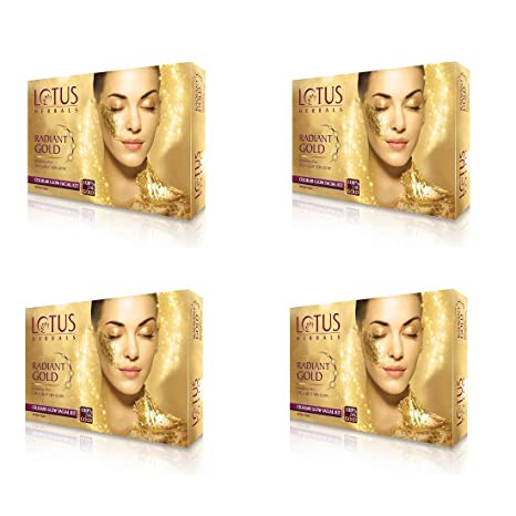 2659357180 Buy Lotus Herbal Radiant Gold Cellular Glow Facial Kit, 37g x 4 = 148g  Online at Low Prices in India - Amazon.in
