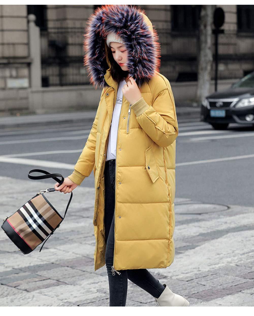 KTUCN Doudoune Manteau d'hiver Manteau 2020 Nouvelles Femmes Parkas à Capuchon col épais Section Longue Hiver Chaud Manteau de Neige Manteau Veste -30 degrés Jaune