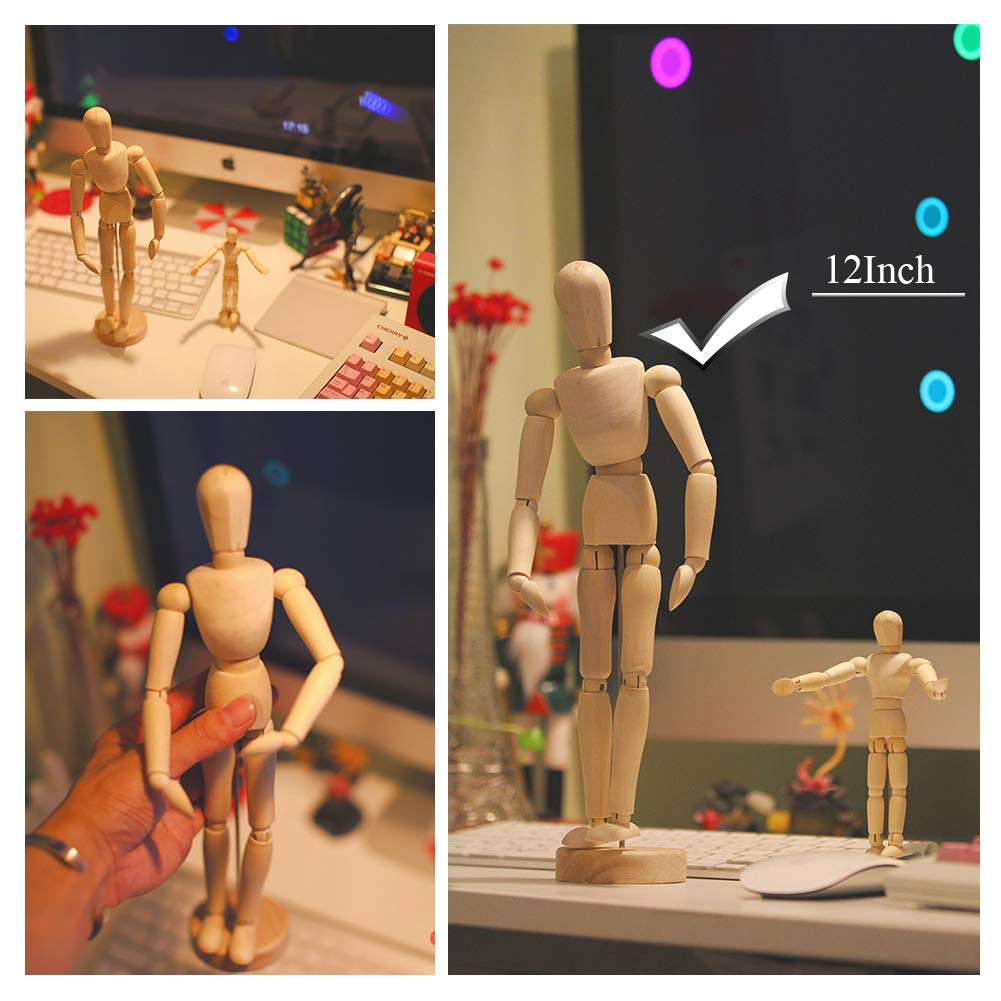 Wooden Drawing Model,Human Art Mannequin/Manikins for Drawing,12 Tall.Made of Seasoned Hardwood,Male,with Base and Flexible Body,a Great Tool for ...