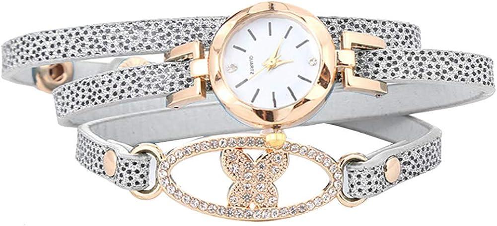 Reloj de Cuarzo para Mujer y Pulsera Multicapa con Diamantes de imitación y Mariposa, Esfera Redonda, Reloj de Cuarzo