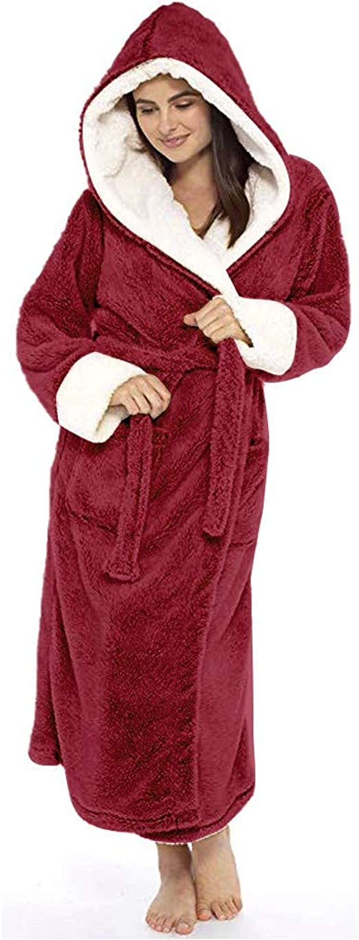 Womens Burgundy Short Hooded or Knee Length Fleece Robe with Sherpa Lining