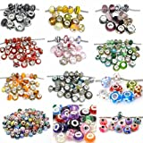 Pack of 10 Beads You Choose Colors Glass Lampwork Murano Glass Beads For Snake Chain Bracelets. (Select Your Color From the Menu)