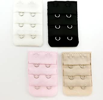 Snw Women's Bra Back Strap Extenders With 3 Rows 2 Hooks(pack of 4)