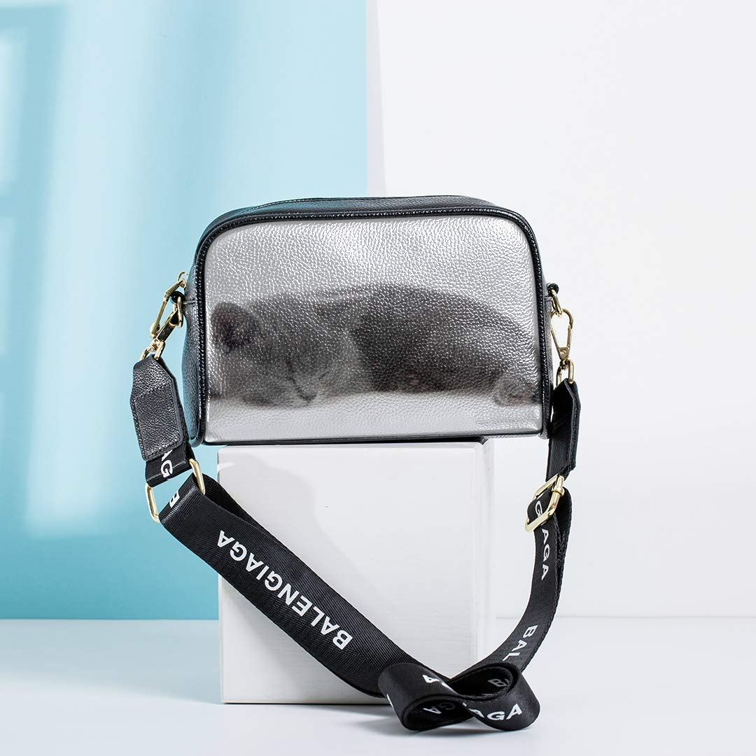 Cute Furry Grey Kitten Sleeps On A Pillow Funny Crossbody Bag Boys Shoulder Bag With Adjustable Long Strap New Fashion Tote Bag Fashion Tool Bag Crossbody Messenger Bags For Girls