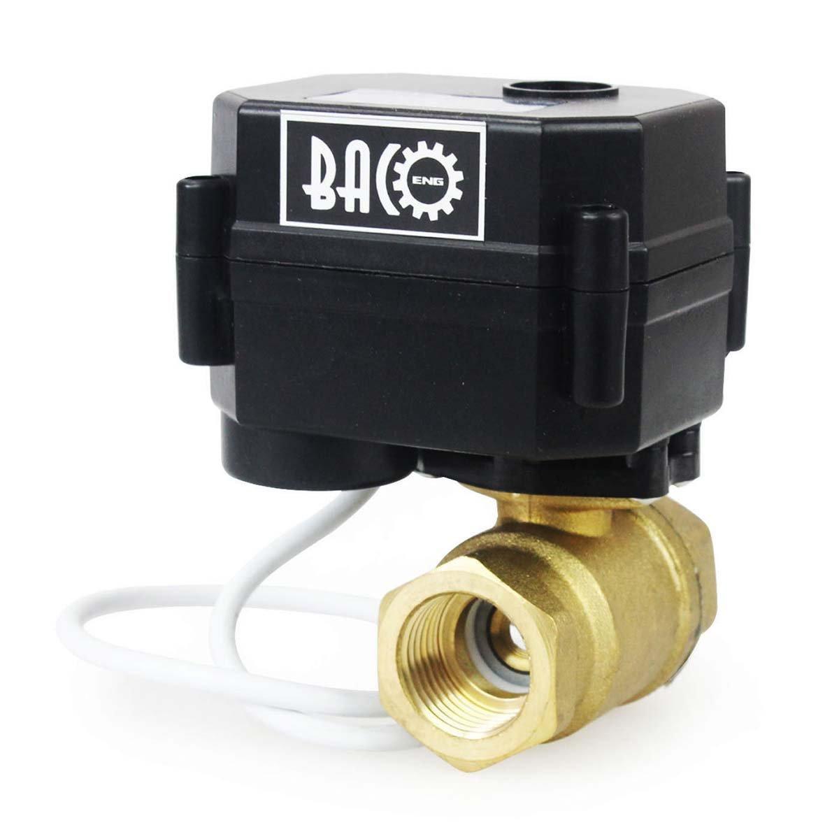 BACOENG 1/2'' DC12V Brass 2 Port Motorized Ball Valve , Electric Ball Valve NPT CR02