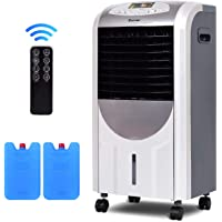 COSTWAY 5 in 1 Compact Air Cooler | Heater | Humidifier | Fan | Purifier with Fan Filter, Humidifier, Ice Crystal Box, LED Panel, 8 Hours Timer, 3 Speed, 7L Water Tank, 4 Wheels, Remote Control