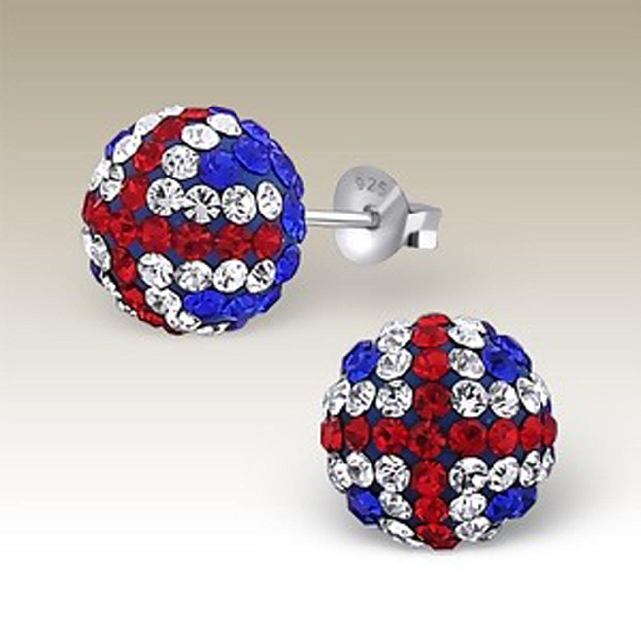 Sterling Silver UK Flag Crystal Ball Earrings 10 mm (E16907)