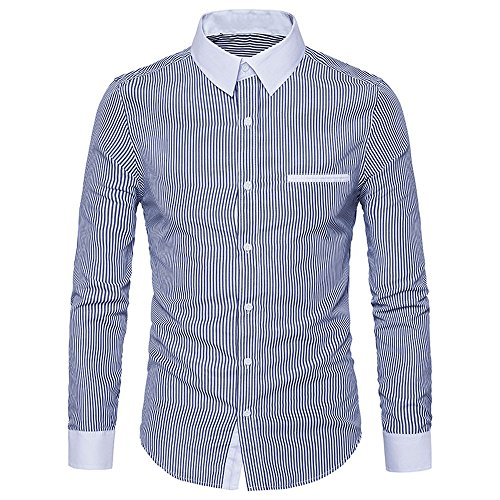 - WUAI Clearance Sale, Men's Casual Shirts Long Sleeve Fashion Slim Fit Stripe Button Down Top Blouse(Navy,US Size S = Tag M)
