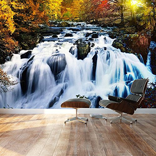 Autumn forest with a rocky waterfall Landscape Wall Mural