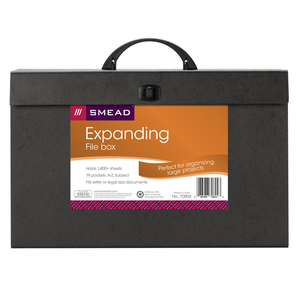 Smead A-Z and Subject Expanding File Box, 19 Pockets, Alphabetic (A-Z) and Subject, Latch Closure, Legal, Black ( 70804)
