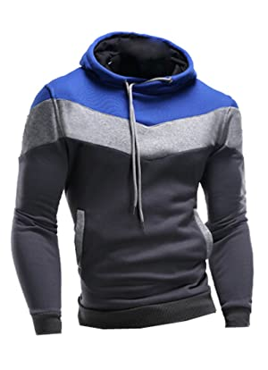 NQ Mens Stylish Slim Fit Cotton Color Blocked Pullover Hoodie Grey S