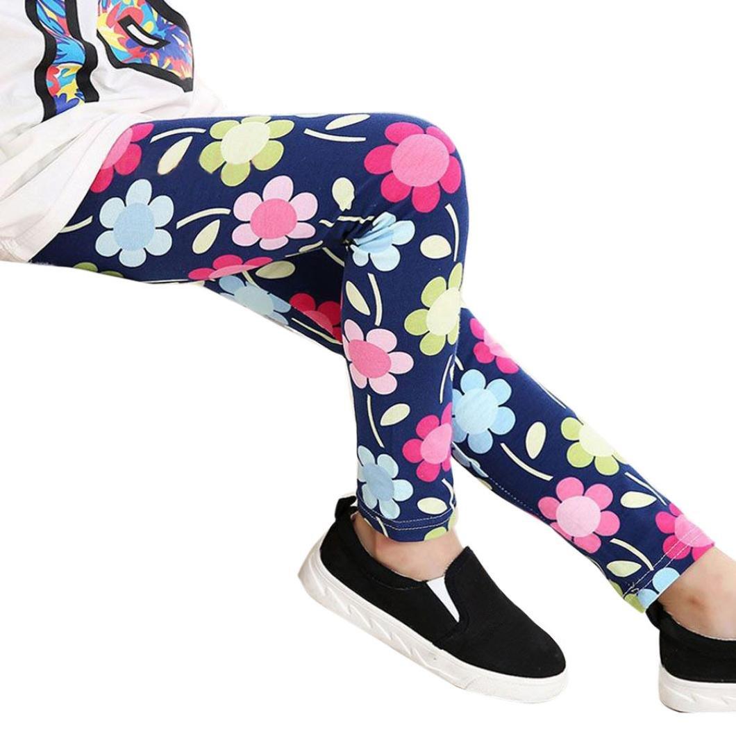 b5084afbda1a5 AMUSTER ❀Pantalons pour Enfants Leggings d impression Flower Classic  Petites Filles Pantalons à Crayons