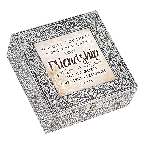 (Cottage Garden Friendship God's Greatest Blessing Stamped Silver 6 x 6 Metal Music Box Plays How Great Thou Art)
