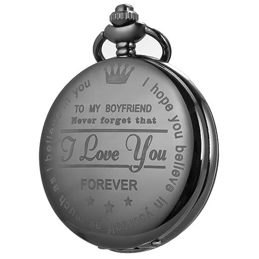 Reloj de Bolsillo Hombre Personalizado SIBOSUN Cuarzo Regalo Novia a Novio con Cadena Recuerdo Caja: Amazon.es: Relojes