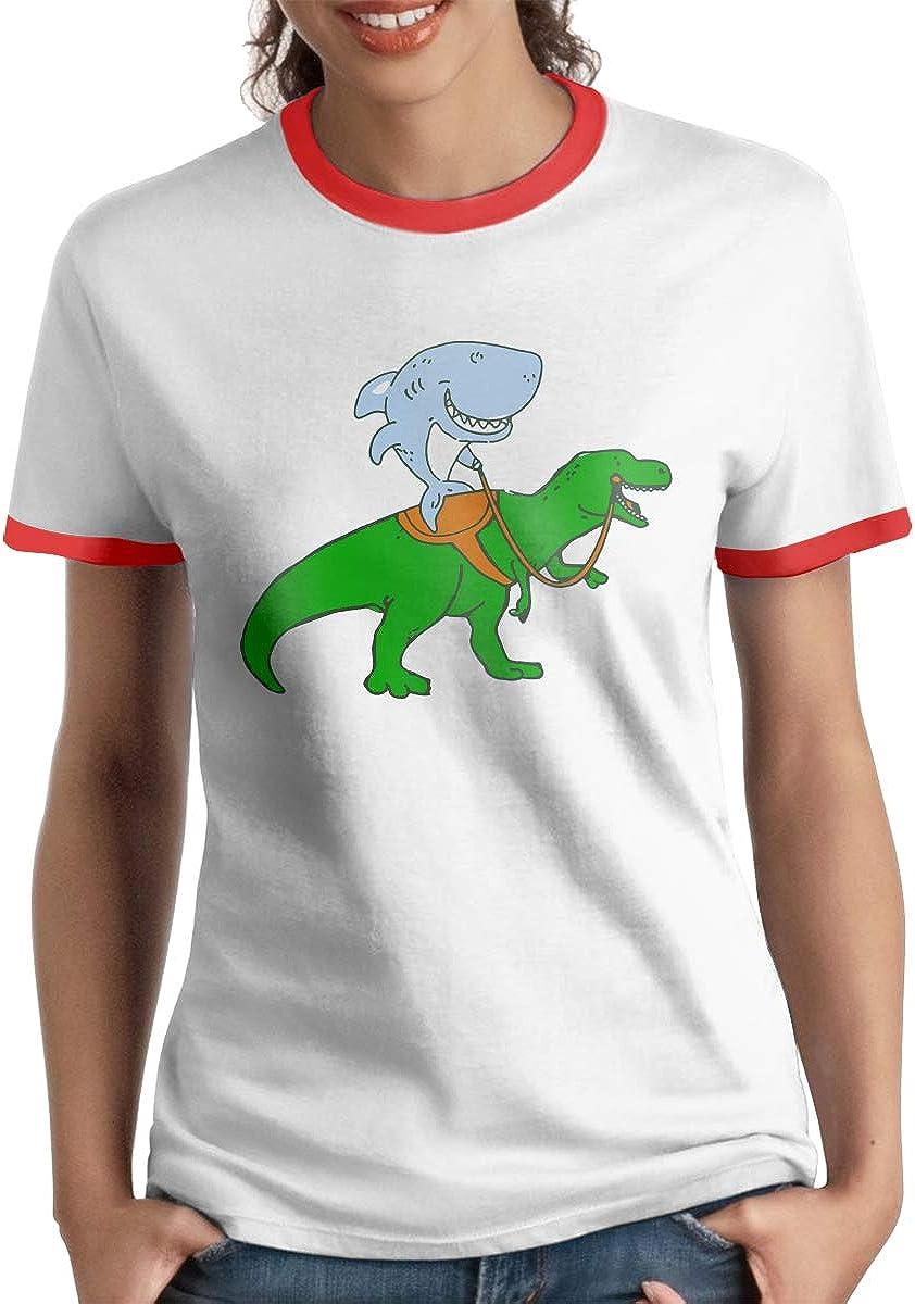 Great White Shark Riding A T Rex Women's Short Sleeve Funny T-Shirt