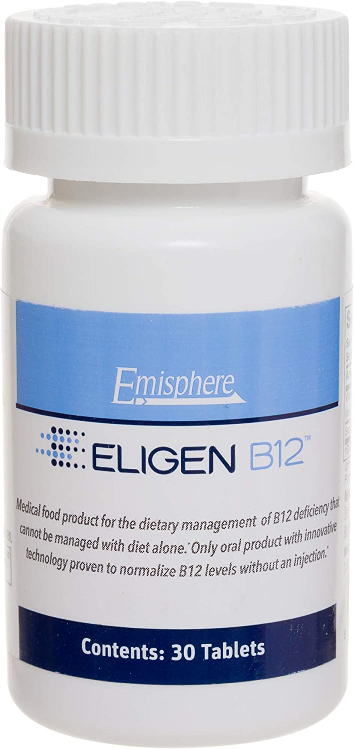 Eligen B12 Vitamin B-12 Tablets – 1000 mcg – Easy to Use – Clinically Proven to Be As Effective as Injections Boosts Energy Level Overall Health 1 Month Supply, 30 Count, Small Tablets