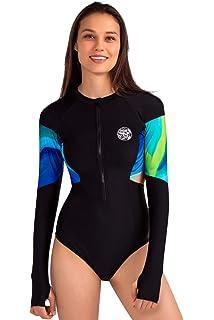 49b0ca2fdd AXESEA Womens Long Sleeve Rash Guard UV UPF 50+ Sun Protection Printed  Zipper Surfing One