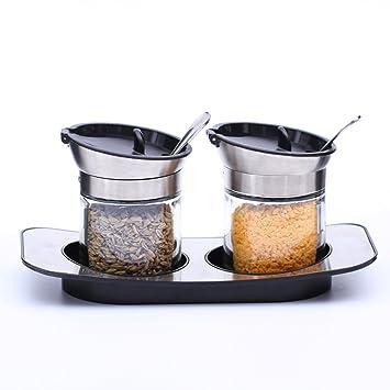 Küchenartikel Gewürzflaschen Glasdeckel Und Löffel 3 Montage: Amazon ...