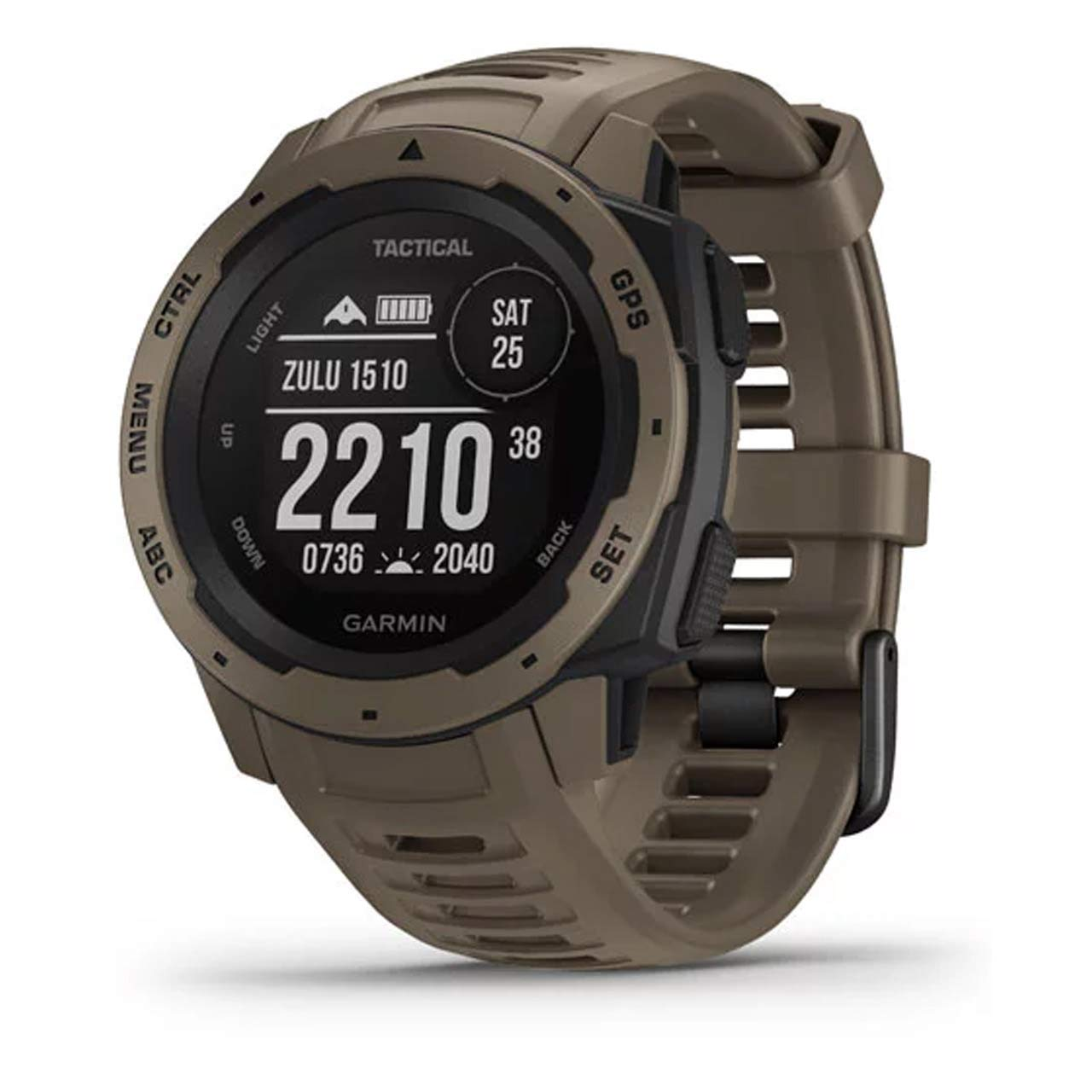 Garmin Instinct Tactical, Rugged GPS Watch, Tactical Specific Features, Constructed to U.S. Military Standard 810G for Thermal, Shock and Water Resistance, Tan by Garmin