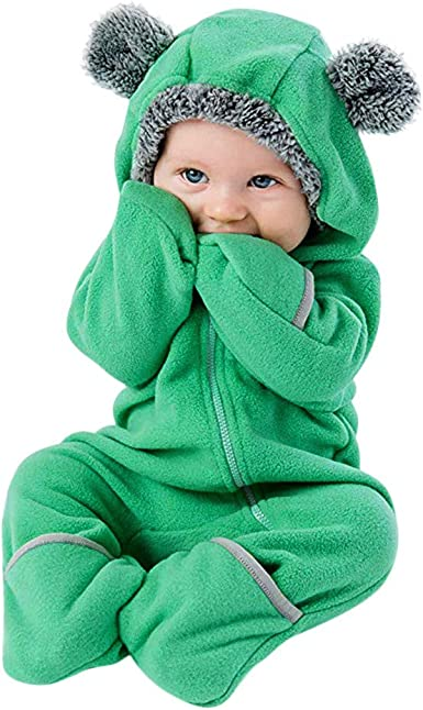 GoodLock Clearance! Baby Boys Girls Fluffy Hooded Jumpsuits Infant Long Sleeve Romper Jumpsuit Outfits Clothes