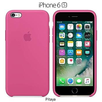 Funda Silicona para iPhone 6 y 6s Silicone Case, Logo Manzana, Textura Suave, Forro Microfibra (Pitaya)