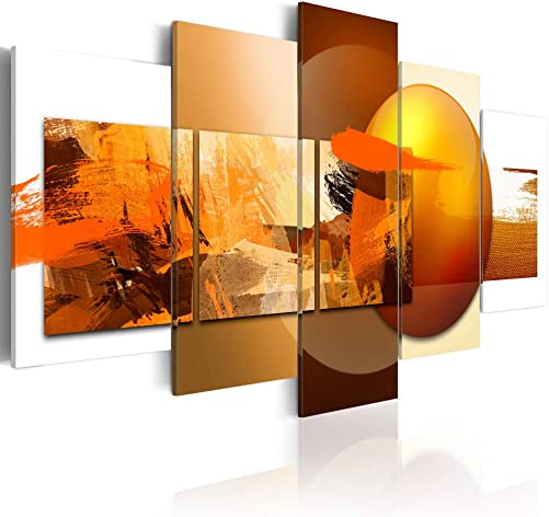 Canvas Prints Art Modern 5 Pieces Wall Picture Abstract Sphere Pros and Cons Painting Orange Artwork Framed Home Decoration Living Room Ready to Hang CL14