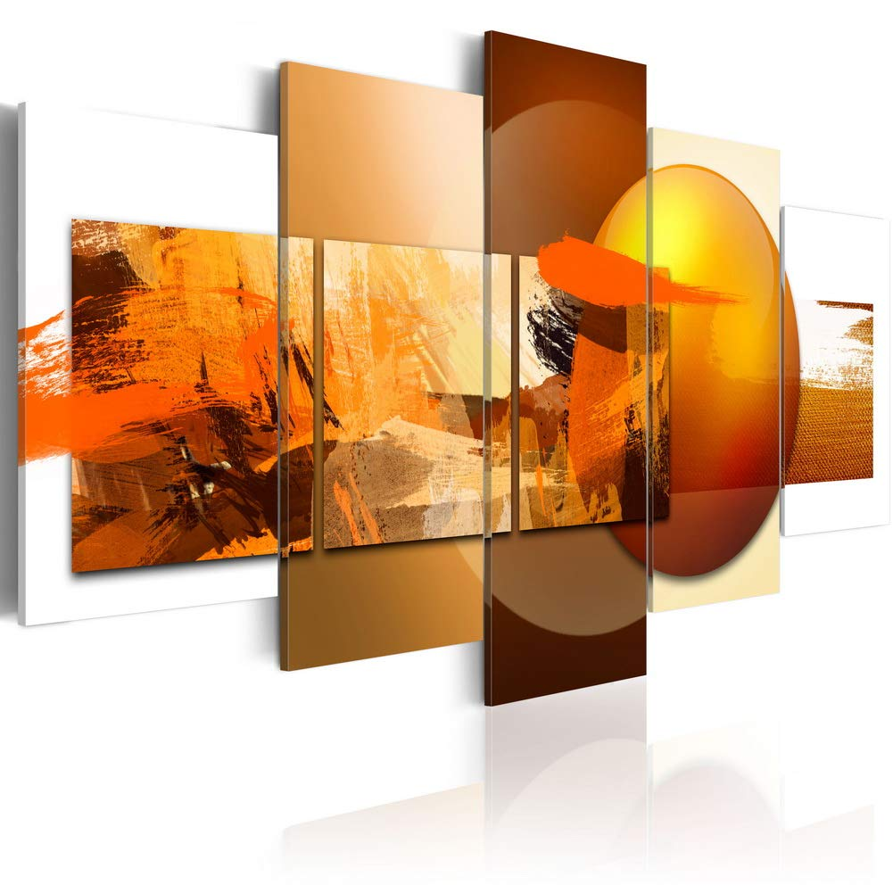 "Canvas Prints Art Modern 5 Pieces Wall Picture Abstract Sphere Pros and Cons Painting Orange Artwork Framed Home Decoration Bedroom Living Room (CL14, Small W40"" x H20"")"