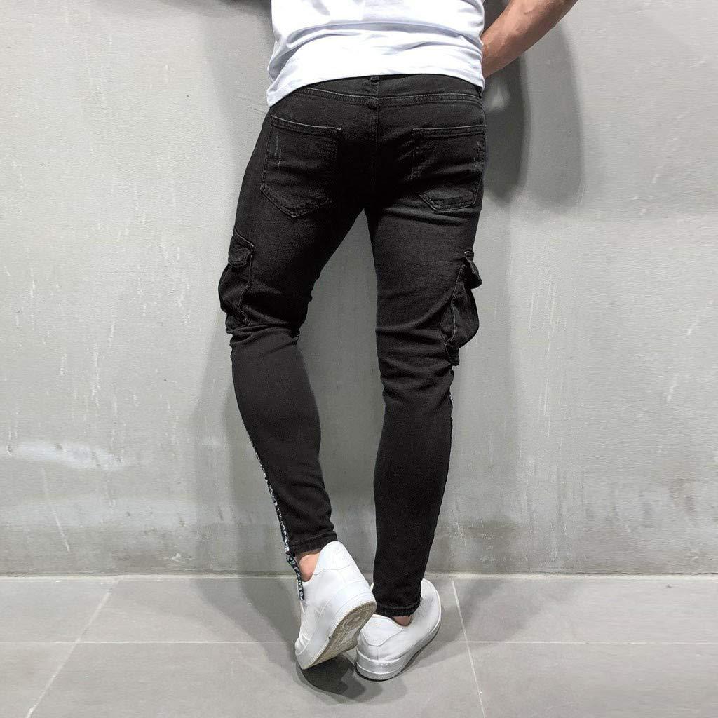 Sunyastor Men's Stretchy Ripped Skinny Biker Jeans Slim Fit Denim Pants Destroyed Hole Distressed Jeans with Pocket Black by Sunyastor men pants (Image #3)