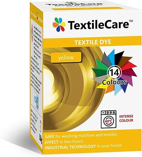 TextileCare Tinte de tela para lavadora para ropa y textiles, 350 g de tinte para ropa de 600 g, 14 colores (amarillo)
