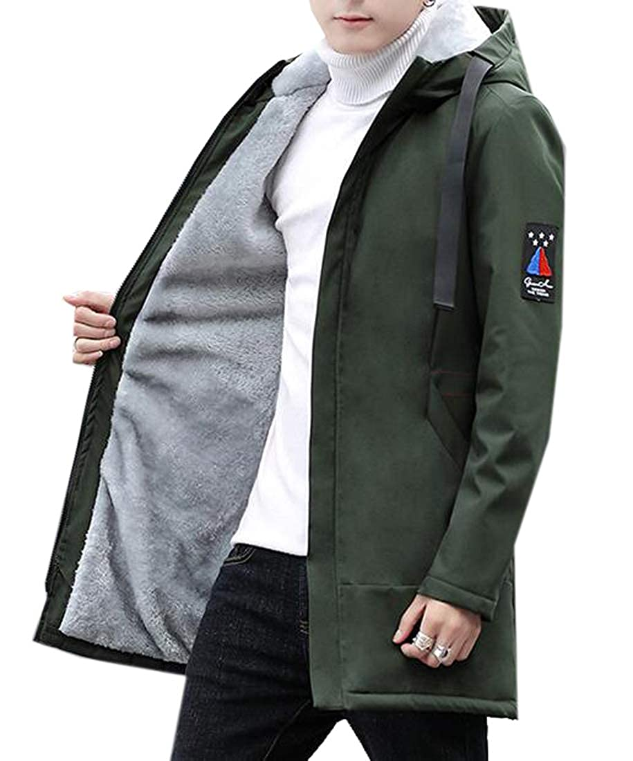 Jotebriyo Mens Hoodie Mid Length Thermal Fleece Lined Plus Size Winter Quilted Jacket Parka Coat Outerwear