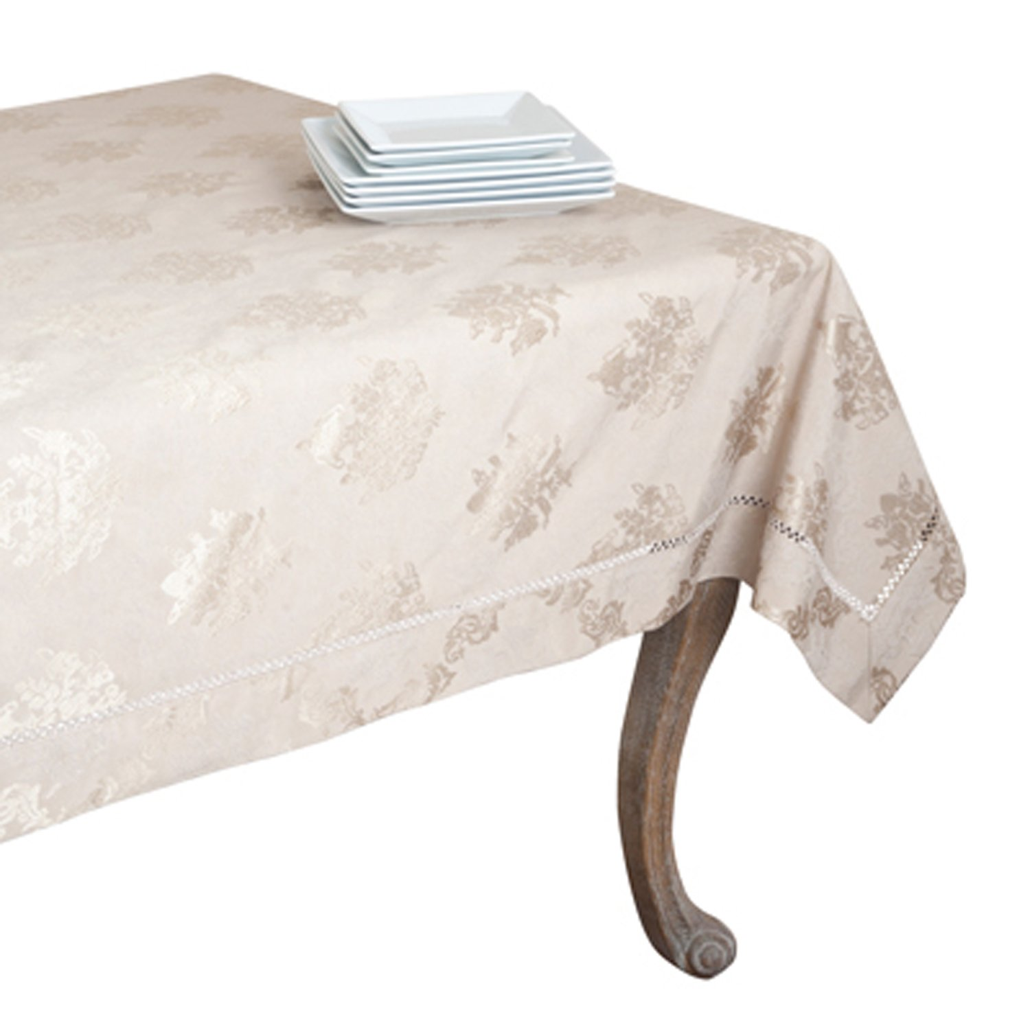 SARO LIFESTYLE DM871 Paloma Tablecloths, 70 by 180-Inch, Oblong, White
