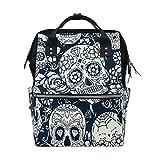WOZO Sugar Skull Floral Multi-function Diaper Bags Backpack Travel Bag