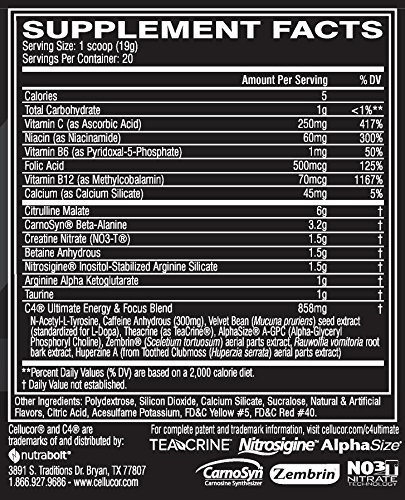 Cellucor C4 Ultimate Pre Workout Powder with Beta Alanine, Creatine Nitrate, Nitric Oxide, Citrulline Malate, Energy Drink Mix, Orange Mango, 20 Servings by Cellucor (Image #3)