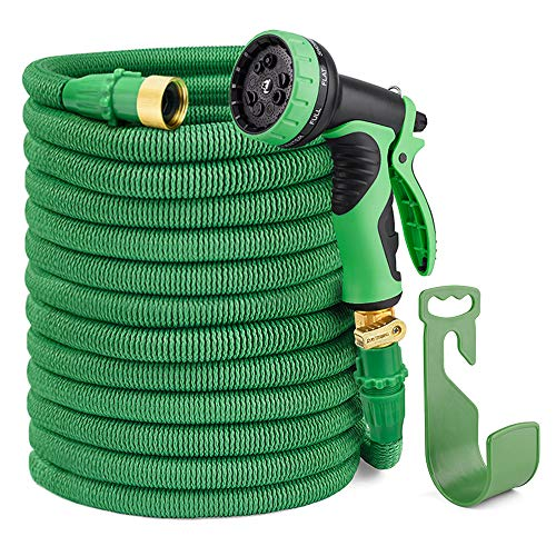 HOUSE DAY 100FT Expandable Garden Hose,3/4″ Solid Brass Fittings,Flexible Water Hose,9-Function Spray Nozzle,Hose (Green)