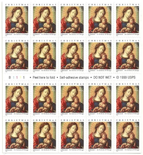 37c Christmas Stamps: Gossaert Booklet Pane of 20 MNH SC# 3675a ()