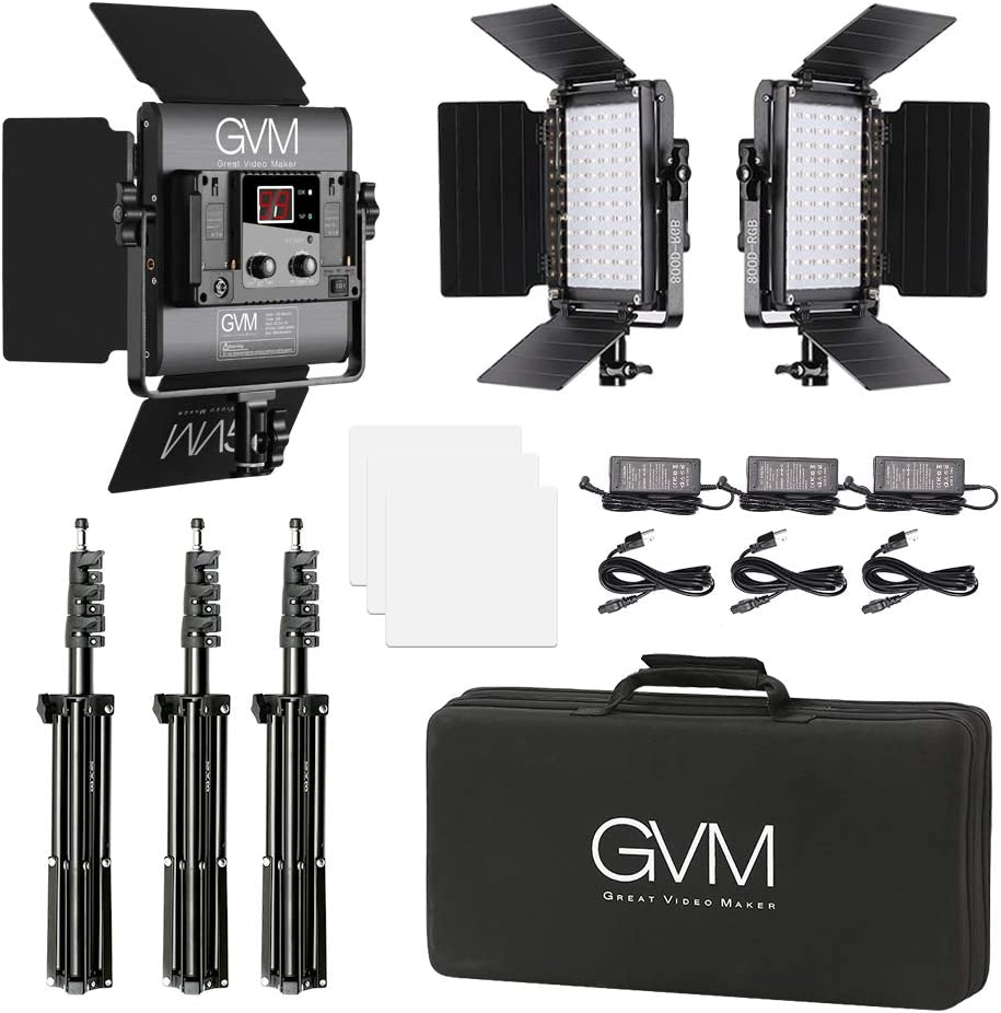 GVM RGB LED Video Lighting Kit 3 Packs Led Light Panel 3200K-5600K 8 Kinds of The Scene Lights Video Lighting Kit for YouTube Photography Lighting 800D Studio Video Lights with APP Control