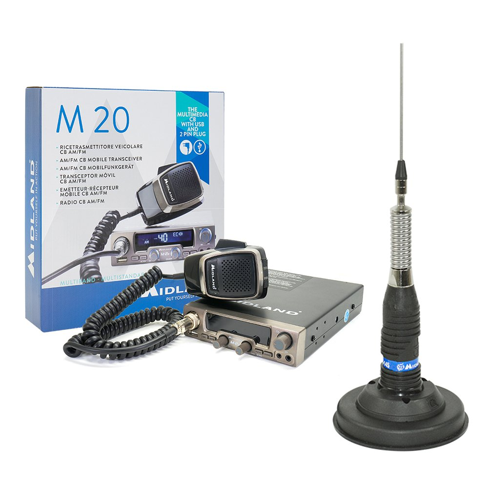 PNI CB Radio Kit Midland M20 + Antenna CB Midland ml145 con 120/PL 125 mm magnethalterung Incluse nella Confezione ONLINESHOP SRL 5859