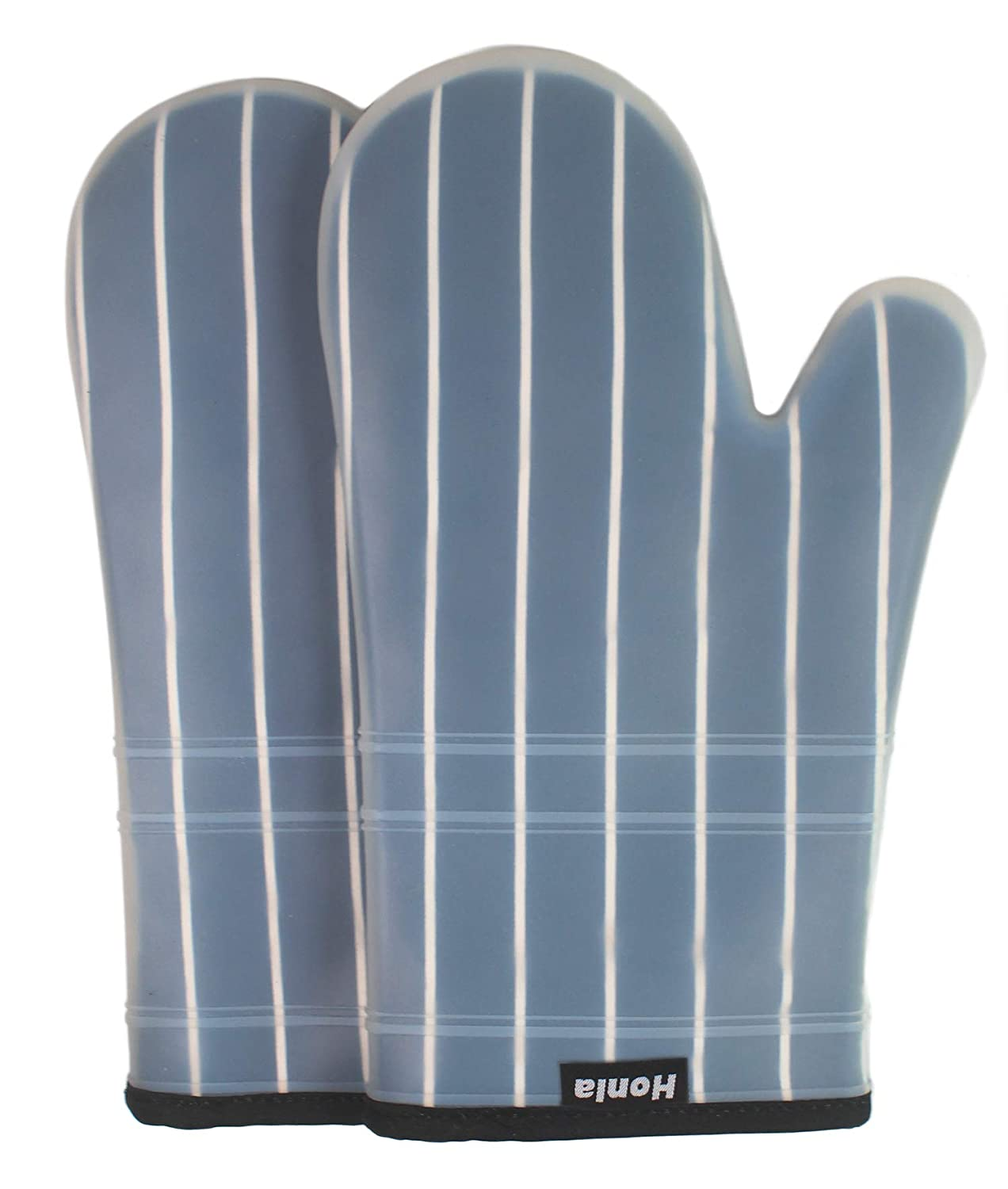Honla Silicone Oven Mitts with Stripe Fabric and Terry Cloths Lining,Heat Resistant to 500 F,1 Pair of Kitchen Oven Gloves for Cooking,Baking,Grilling,Barbecue Potholders,Black